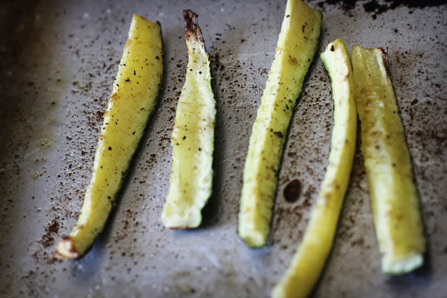 seasoned zucchini slices.