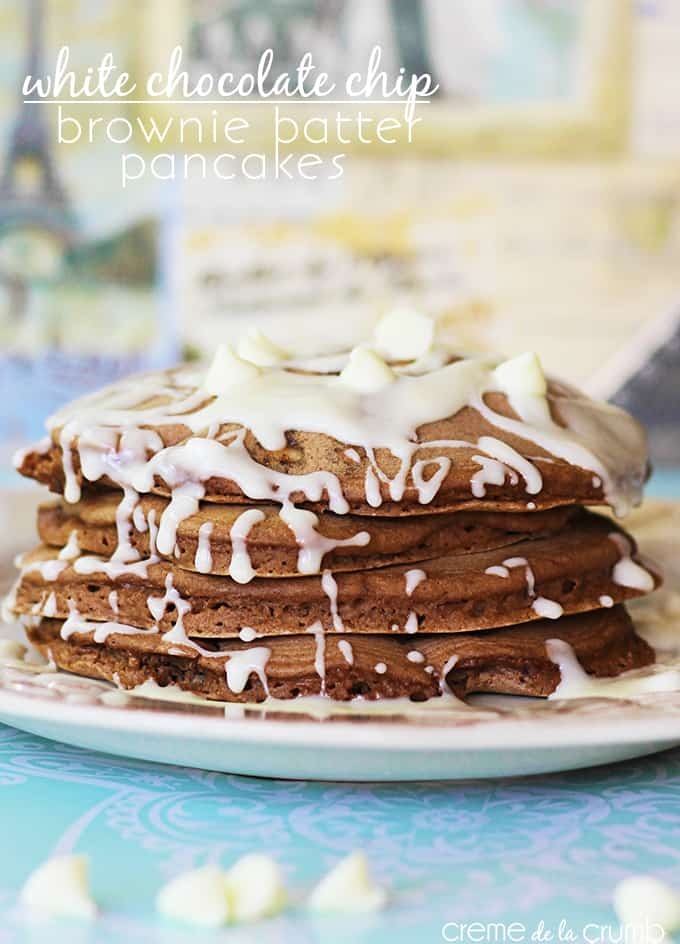 White Chocolate Chip Brownie Batter Pancakes