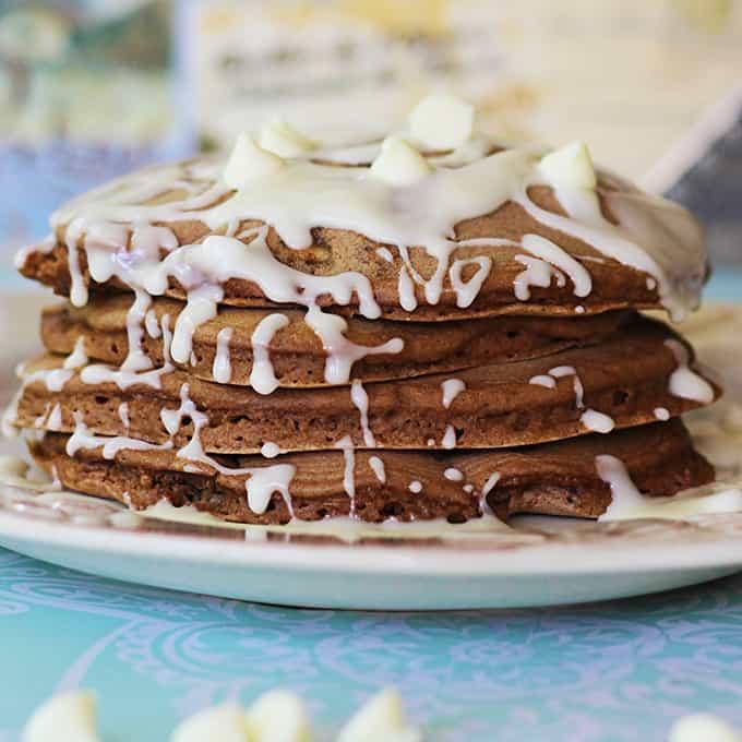 White Chocolate Chip Brownie Batter Pancakes - Creme De La Crumb