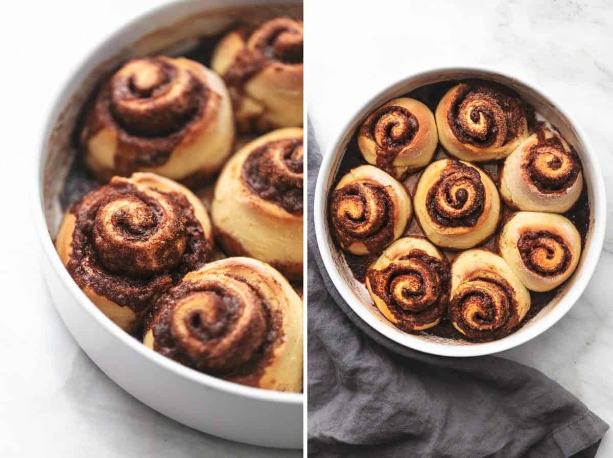unfrosted cinnamon rolls in pan
