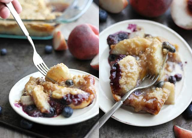 side by side images of a piece of blueberry peach cobbler crisp with a fork.
