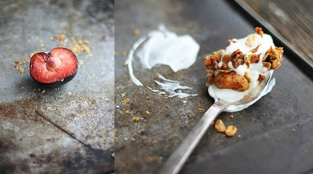 side by side images of fruit on a baking sheet and a spoon with a scoop of yogurt and granola on a baking sheet.