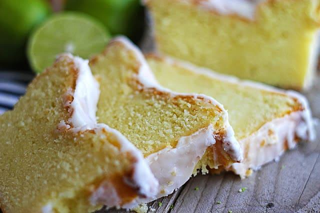 coconut lime {Greek yogurt} pound cake cut in slices.