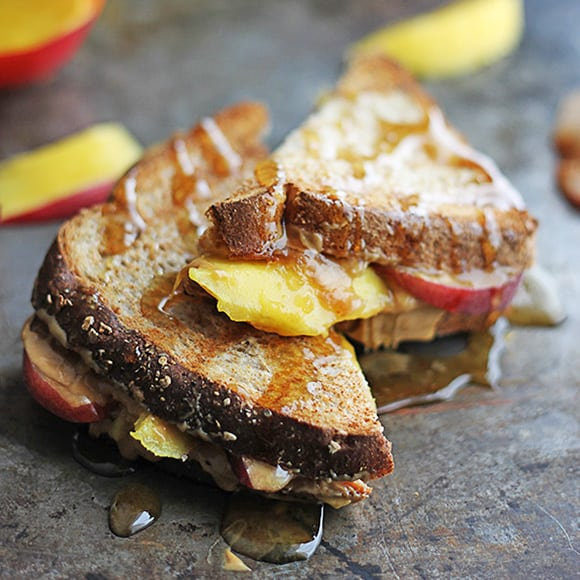 Grilled Peanut Butter, Mango, & Peach Sandwiches