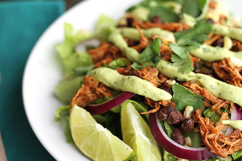 Slow Cooker BBQ Chicken Salad with Creamy Avocado Dressing - Creme De ...