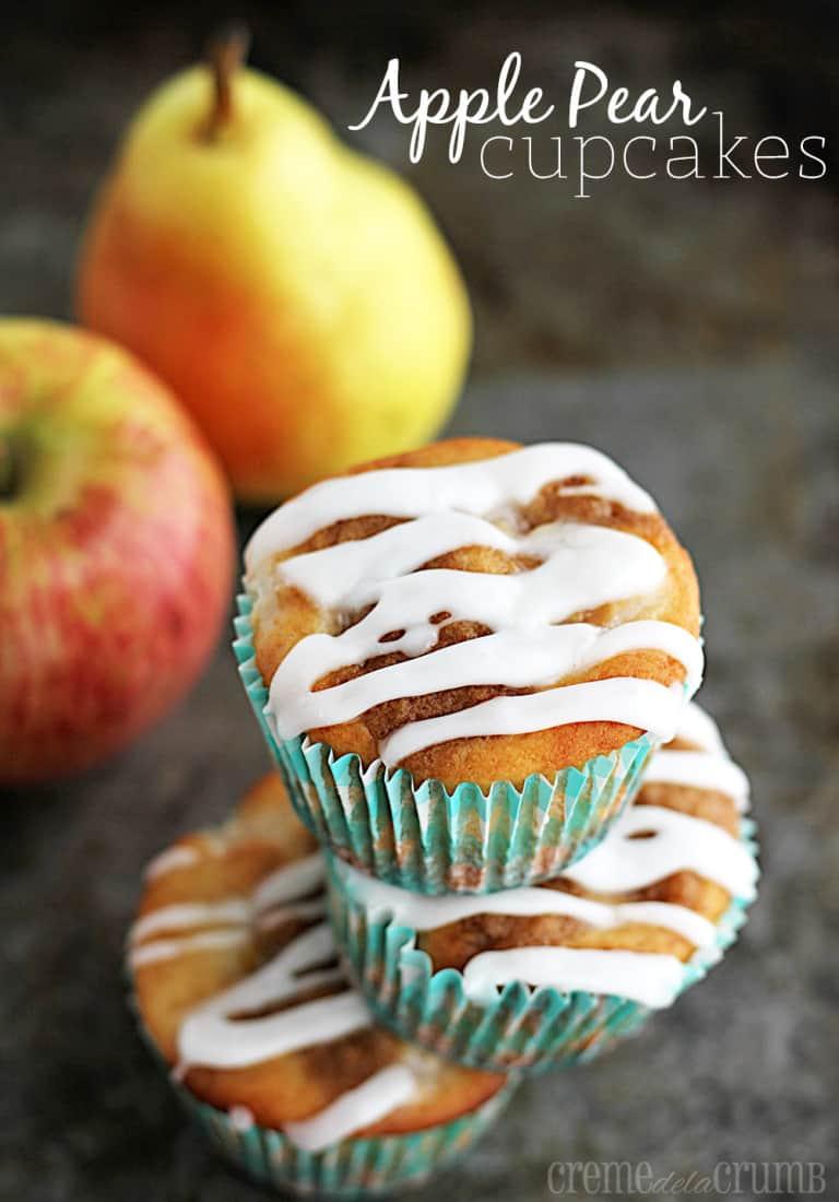 Fresh Apple-Pear Cupcakes - Creme De La Crumb