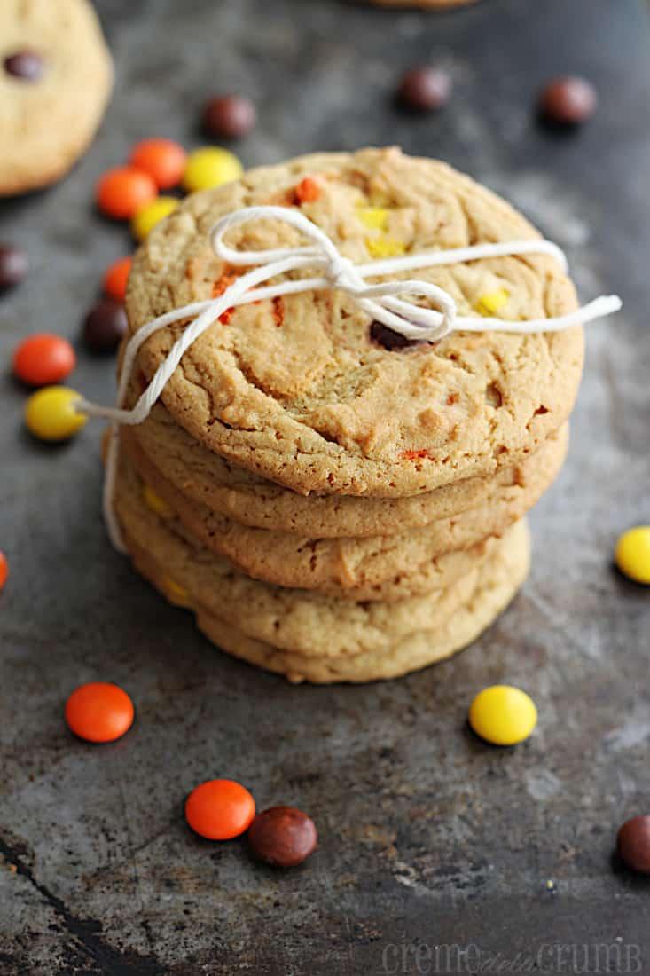 Chewy Reeses Peanut Butter Cookies - Creme De La Crumb
