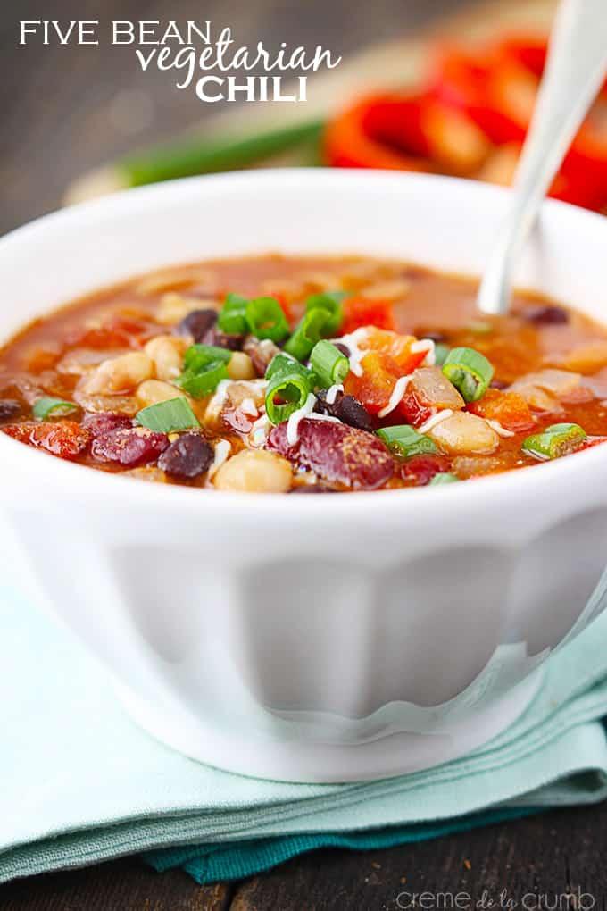 Five Bean Vegetarian Chili - Creme de la Crumb
