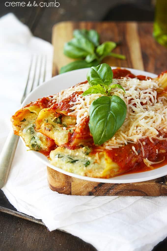 Cheesy Meatless Manicotti - Creme de la Crumb