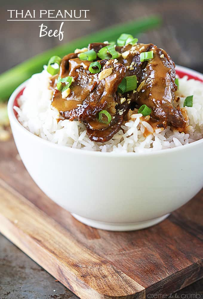 Thai Peanut Beef {5 ingredients!} - Creme de la Crumb