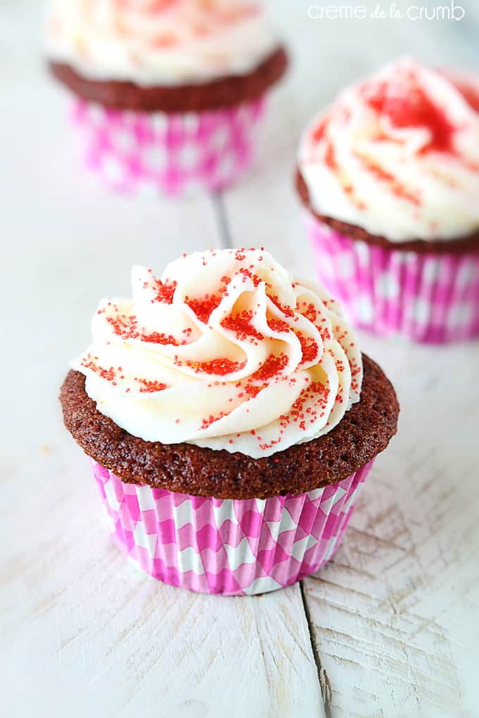 "Red Velvet Cupcakes with White Chocolate Frosting - Creme de la Crumb ""The BEST cupcakes I've ever tasted!"""