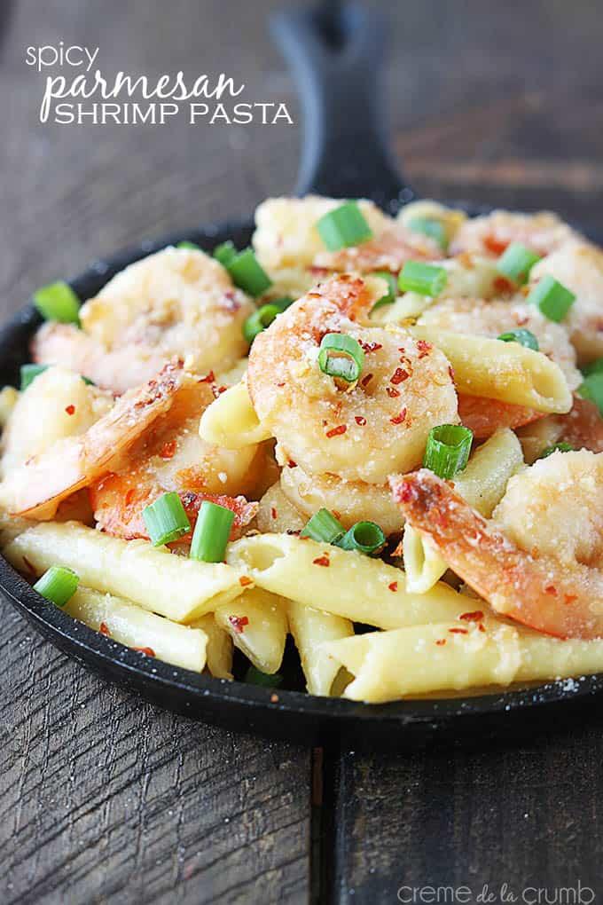 Spicy Parmesan Shrimp Pasta | Creme de la Crumb