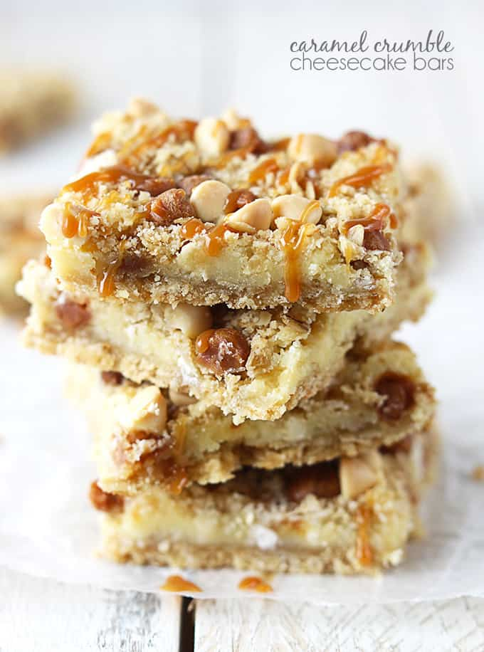 stacked caramel crumble cheesecake bars with the title of the recipe written on the top right corner of the image.