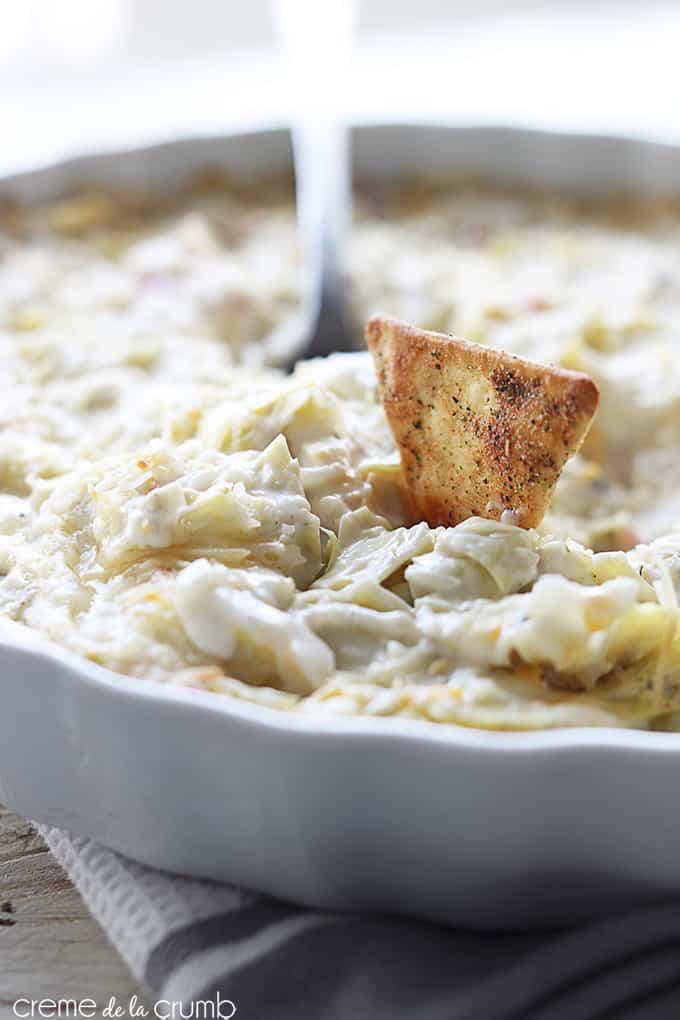 Hot Crab and Cheesy Artichoke Dip - Creme De La Crumb