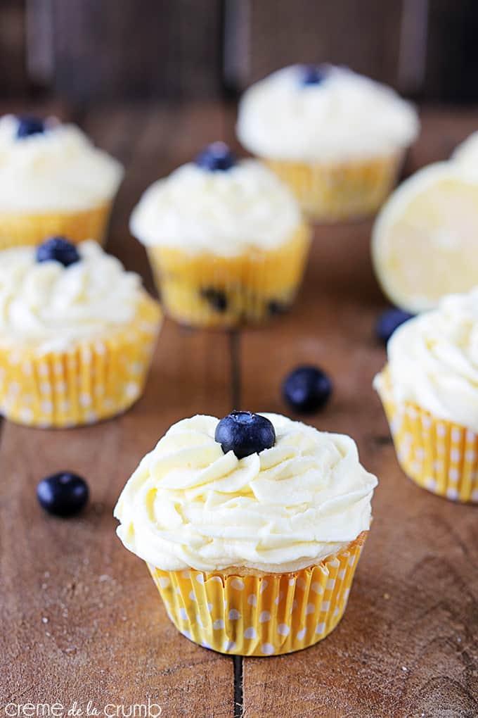 Blueberry cupcakes piled high with lemon buttercream. Mmmmmmmm rich ...