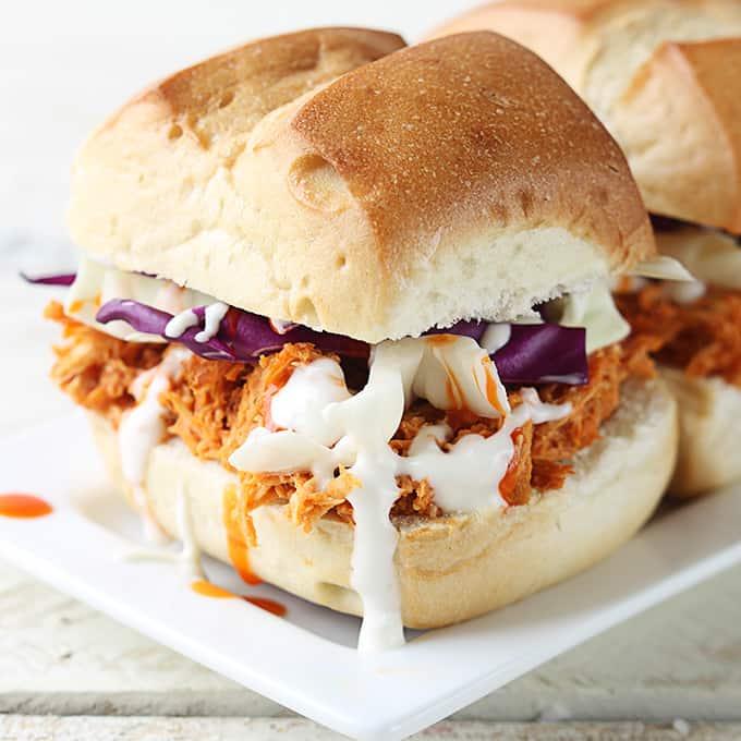 Buffalo Chicken Sliders {5 Ingredients}