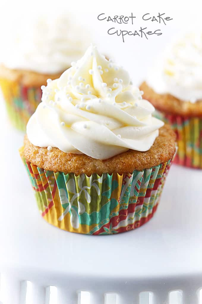 Carrot Cake Cupcakes with Cream Cheese Frosting - Creme De La Crumb