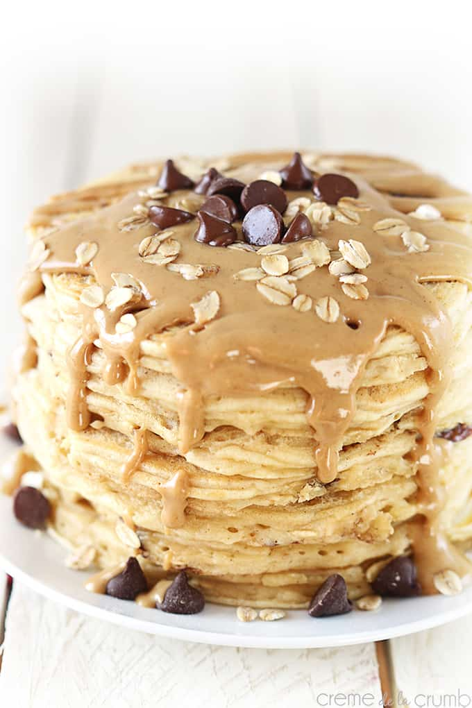 Peanut Butter Oatmeal Chocolate Chip Cookie Pancakes - Creme De La ...