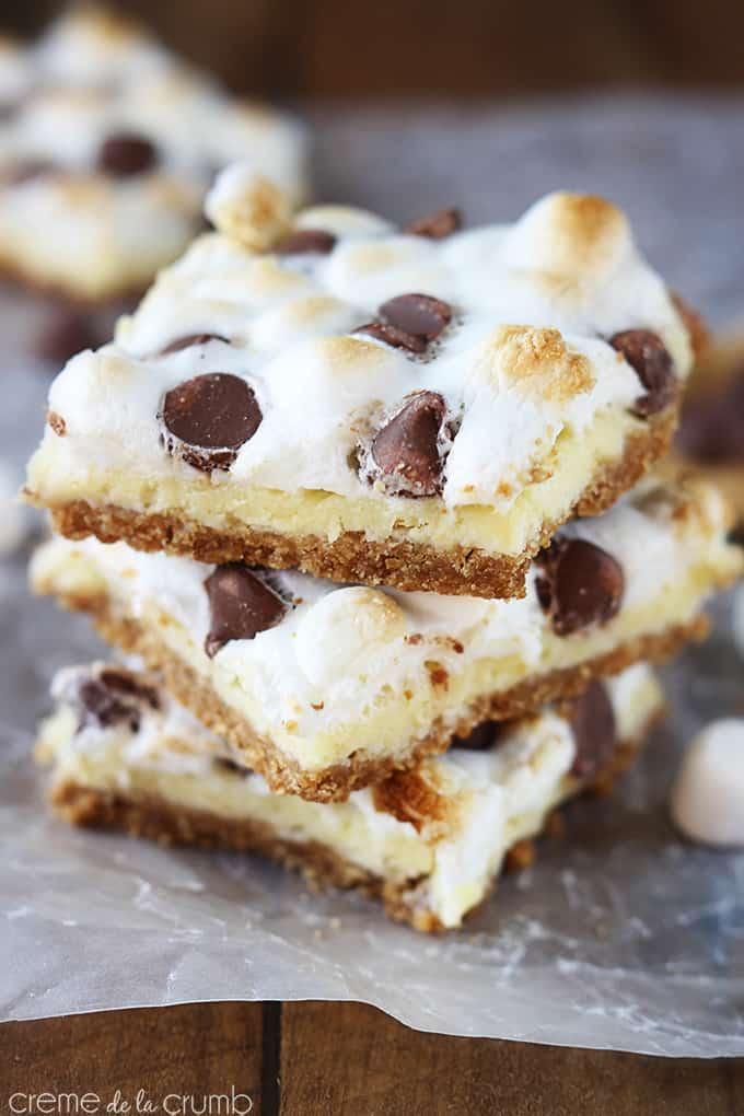 mores Cheesecake Bars - Creme De La Crumb