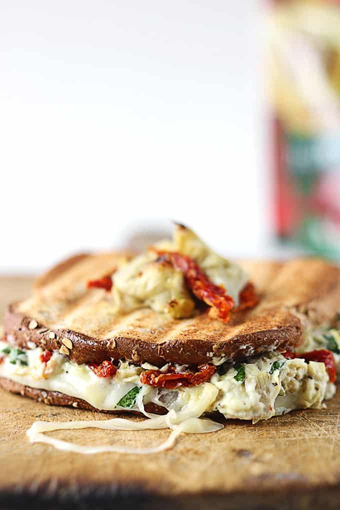 Cheesy Spinach Artichoke & Sundried Tomato Panini - Creme De La Crumb