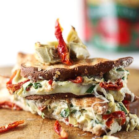 Cheesy Spinach Artichoke & Sundried Tomato Panini