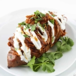 BBQ Pulled Pork Stuffed Hasselback Sweet Potatoes