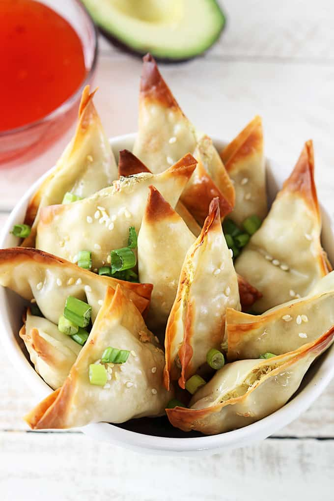 Oven Baked Crab Avocado Wontons