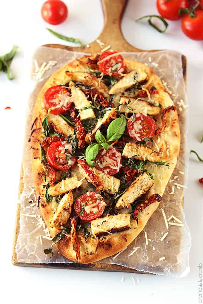 Chicken Florentine Flat Bread Pizza Creme De La Crumb