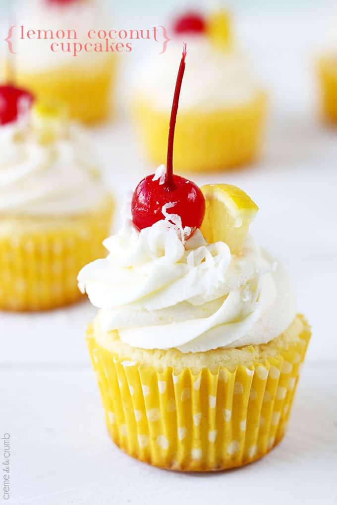 Lemon Coconut Cupcakes - Creme De La Crumb