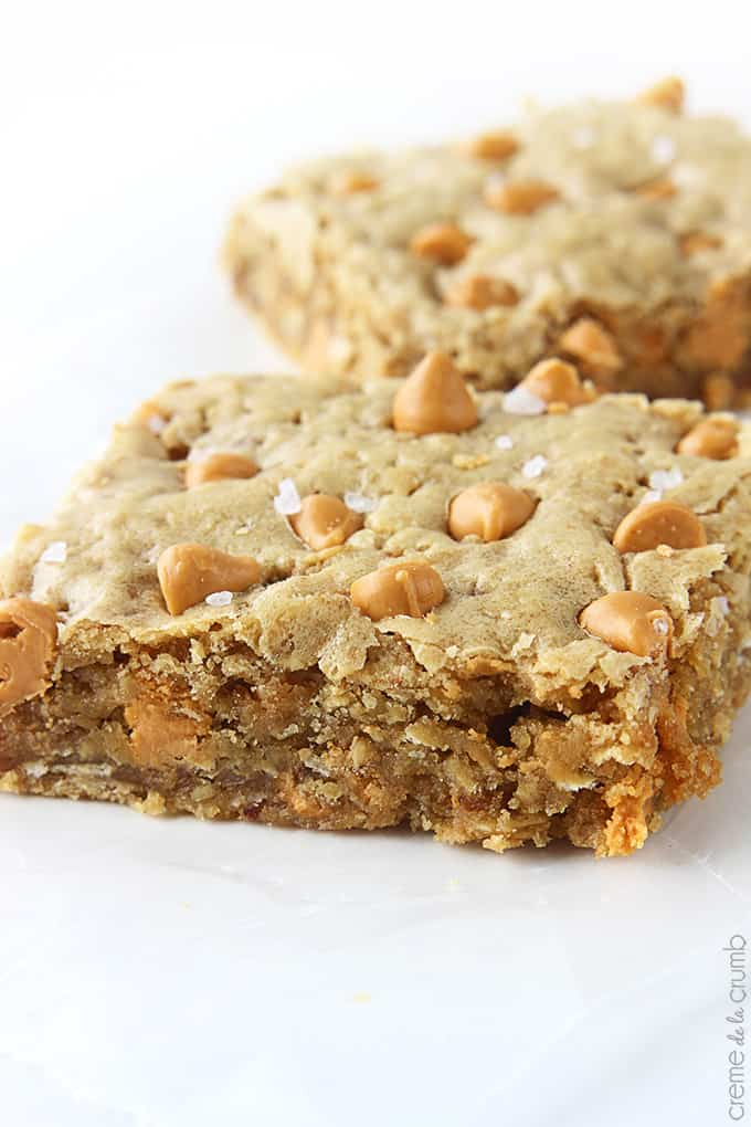 Oatmeal Butterscotch Blondies - Creme De La Crumb