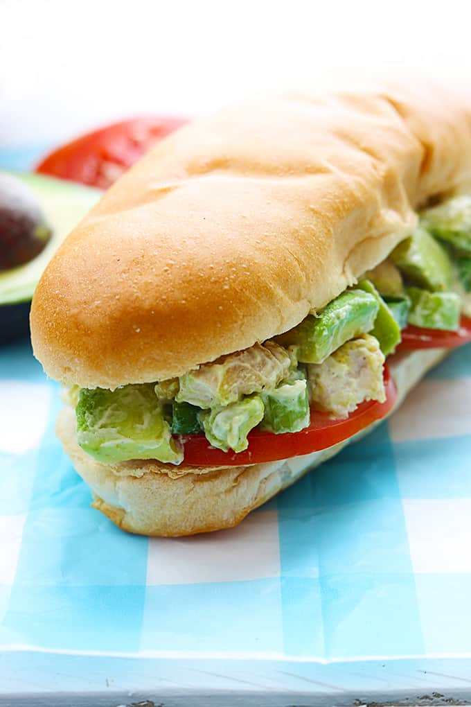 Skinny Chicken Avocado Salad Sandwiches