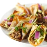 Slow Cooker Hawaiian BBQ Pork Wonton Tacos