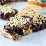 Chocolate Dipped Cashew Granola Bars