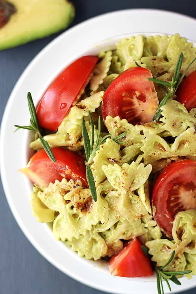 This quick vegetarian pasta is tossed in a creamy avocado sauce that ...