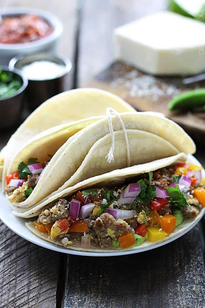 Stir Fried Chorizo & Veggie Breakfast Tacos