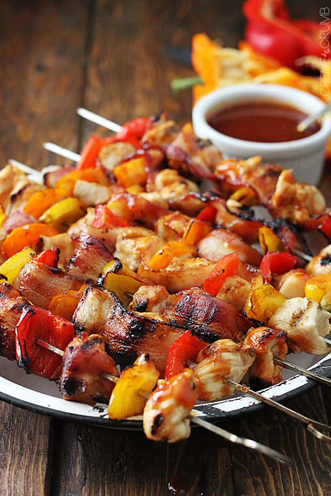 Grilled Honey BBQ Bacon Chicken Kabobs - Creme De La Crumb