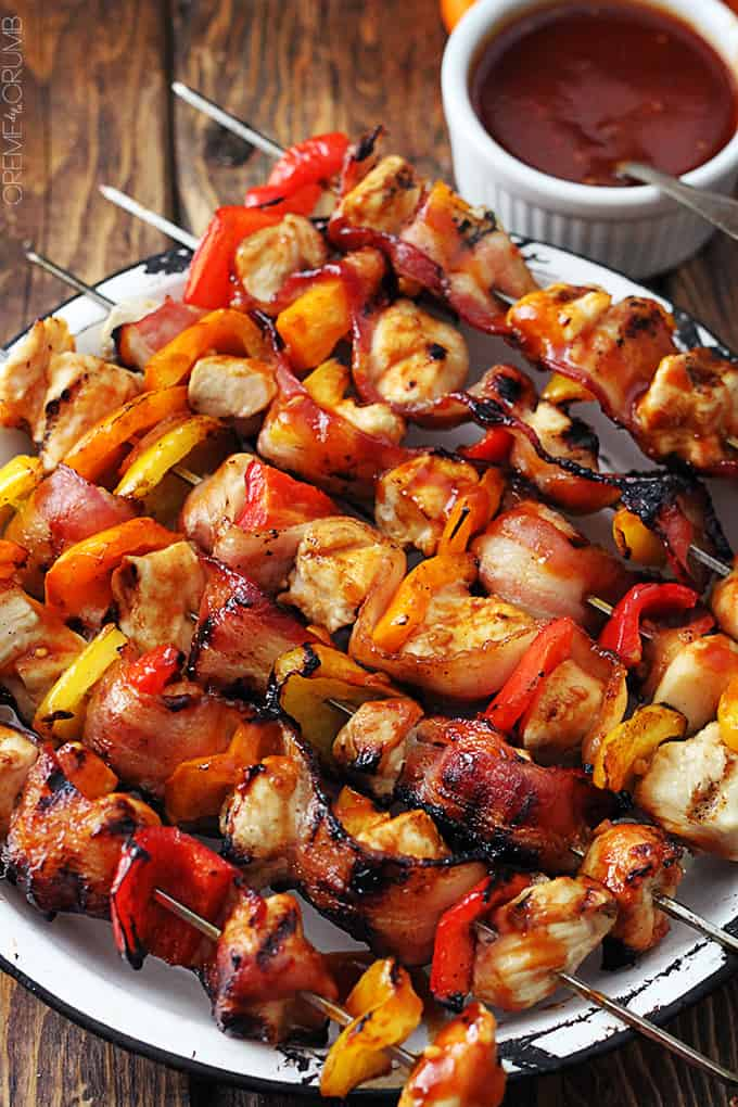 Grilled Honey BBQ Bacon Chicken Kabobs