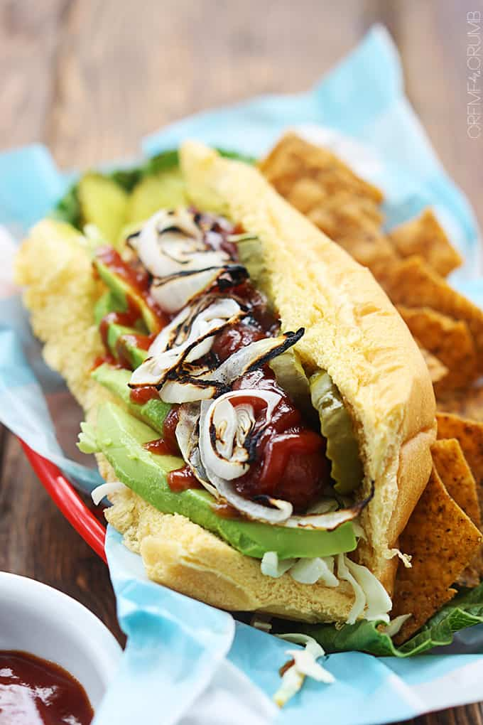 Best BBQ Hot Dogs with Avocado & Grilled Onions