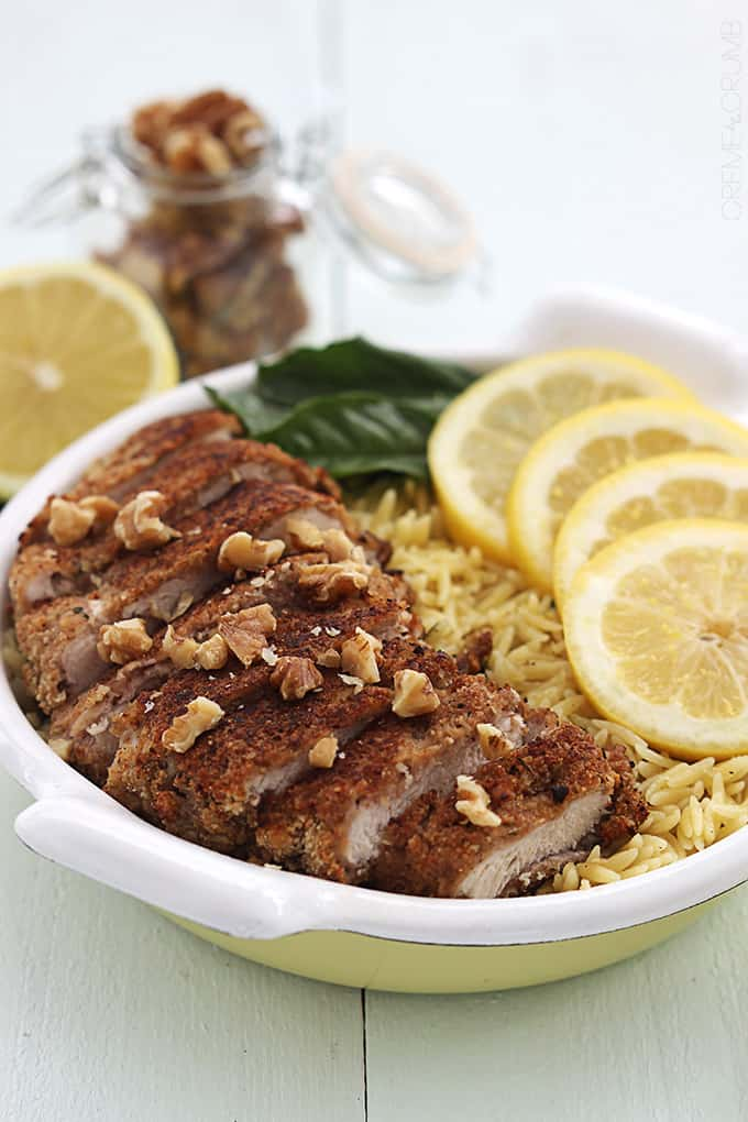 Walnut Crusted Chicken with Lemon Garlic Orzo