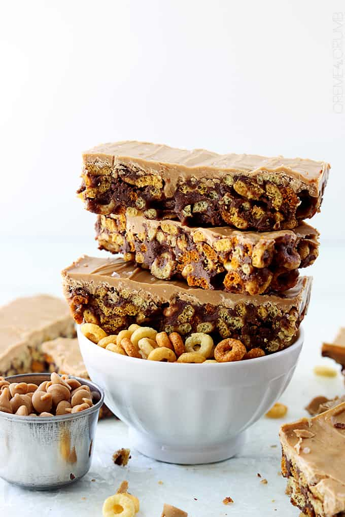 Chocolate & Peanut Butter Cheerio Bars