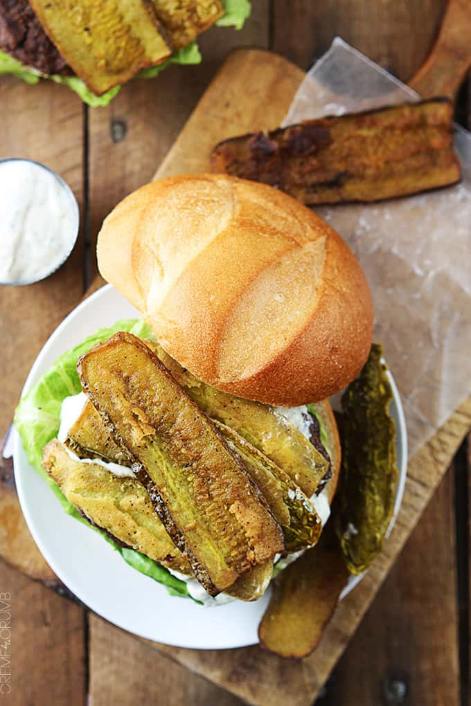 Greek Yogurt Ranch Burgers with Cajun Fried Pickles