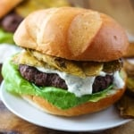 Greek Yogurt Ranch Burgers with Cajun Fried Pickles