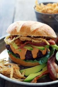 Western Bacon Burgers with BBQ Mayo and Crispy Fried Onions