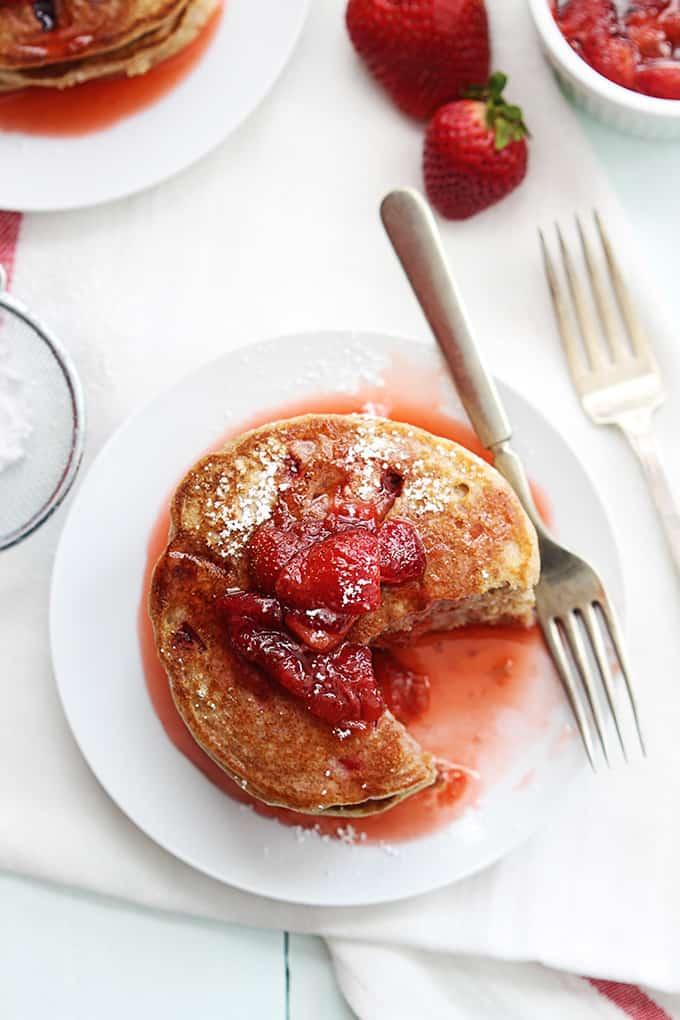 Whole Wheat Strawberry Pancakes - Creme De La Crumb