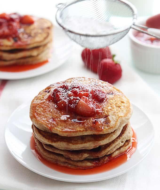 Whole Wheat Strawberry Pancakes
