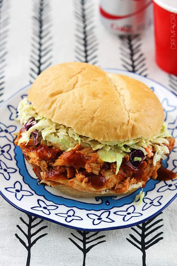 Slow Cooker BBQ Pulled Chicken Sandwiches - Creme De La Crumb