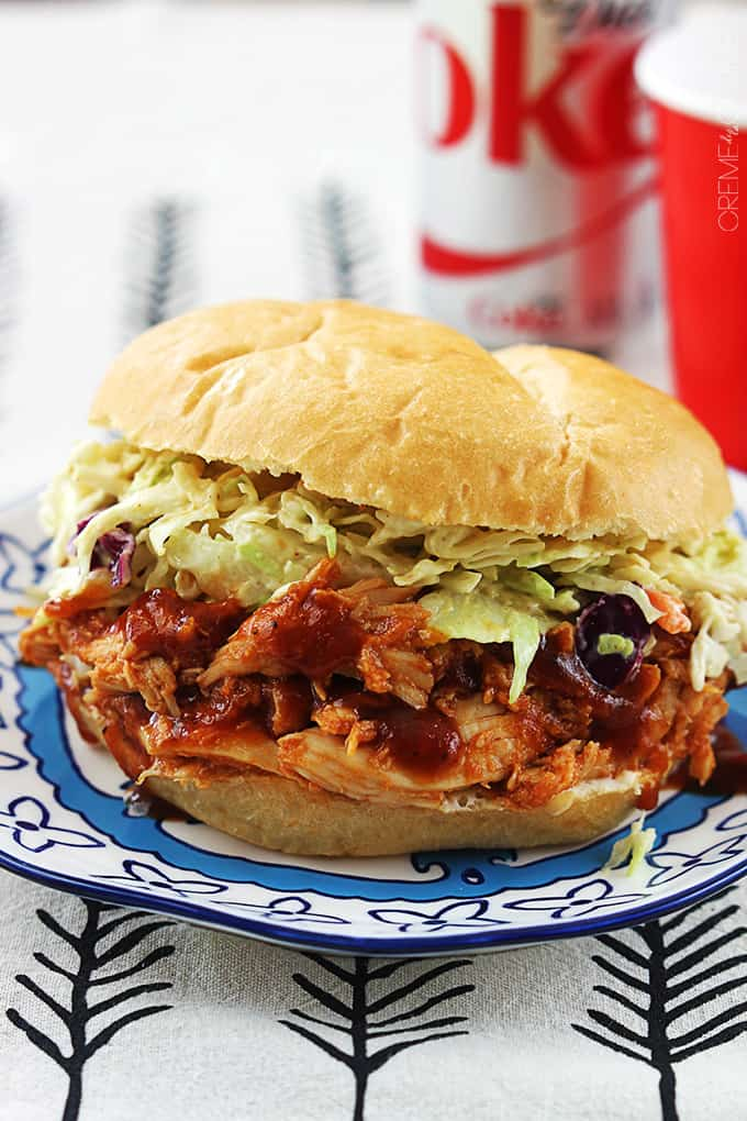 Slow Cooker BBQ Pulled Chicken Sandwiches - Creme De La Crumb