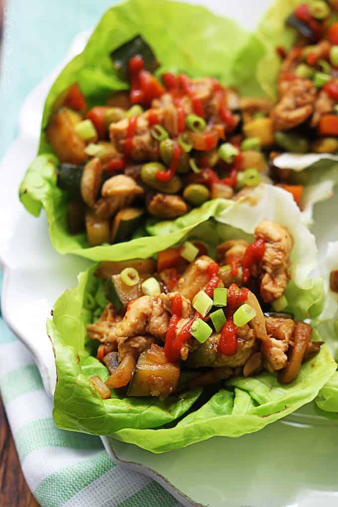 close up of Asian chicken lettuce wraps on a plate.