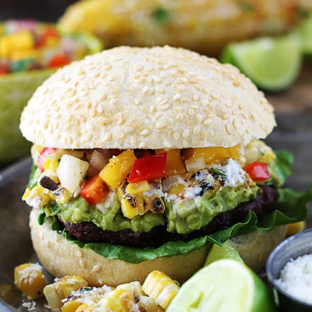 Guacamole Burgers with Mango Red Pepper Salsa
