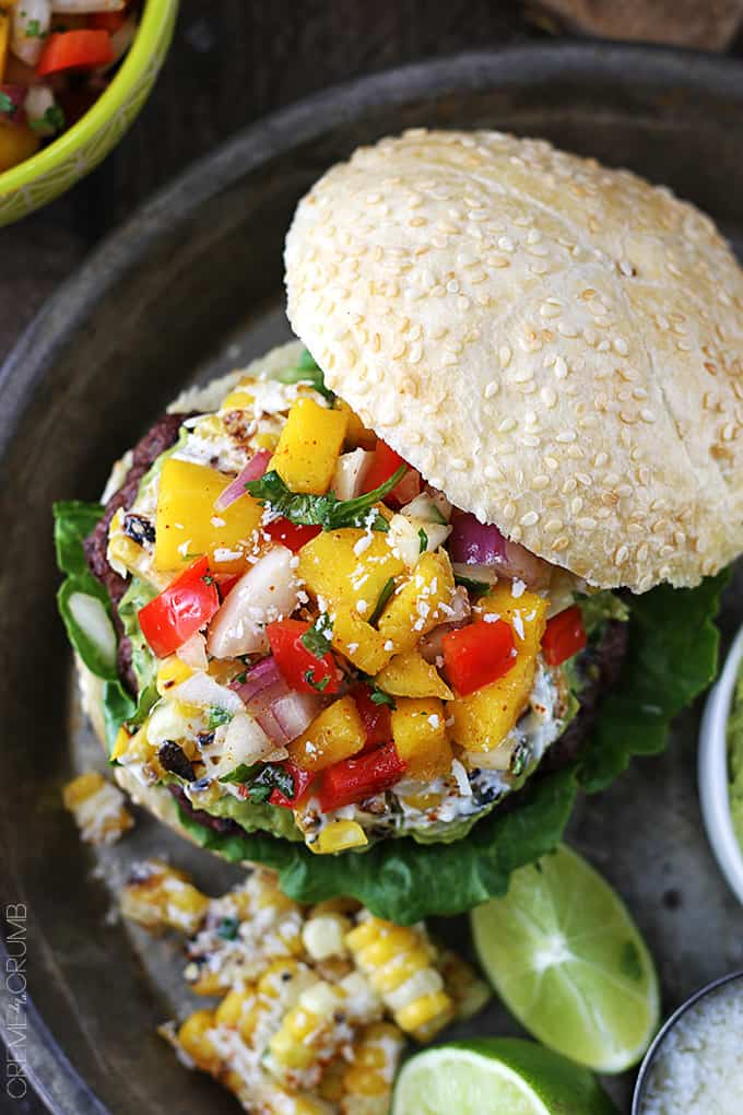 Guacamole Burgers with Roasted Corn + Mango Red Pepper Salsa